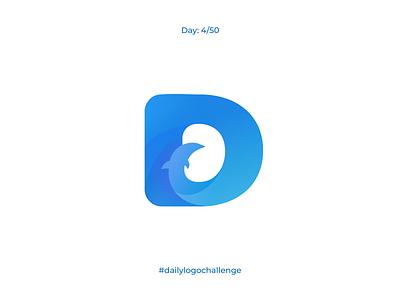 Single letter logo   Day 4 logomark dailylogo dailyui letter single letter dolphinarium gradient blue design brand identity vector logo dolphin graphic design branding dailylogochallenge