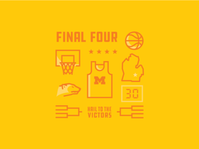 Hail final four minimal thick lines icon march madness wolverines basketball um michigan