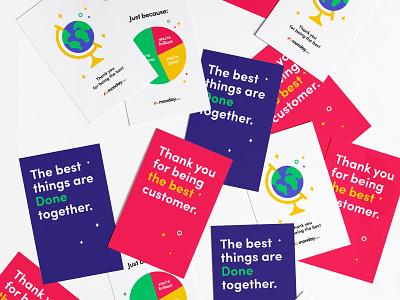 'Thank you' Greeting cards thank typogaphy together postcard vector illustration globe best branding chart customer design greeting card