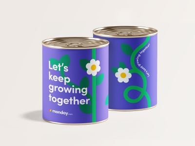 'We are growing' swag together can package branding swag spring flower plant grow seed typography design tin can