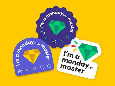 monday.com master stickers icons diamond branding illustraion vactor stickers design