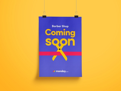 Barber shop poster - coming soon.. scissors icon print poster poster design vector design barber shop typography branding coming soon