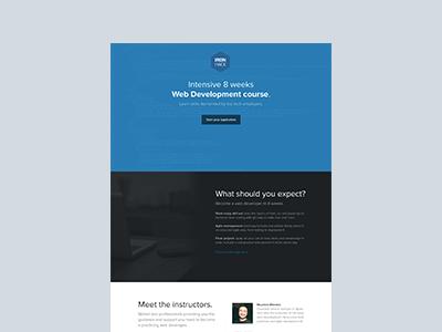 Ironhack, course info page landing elegant simple flat startup progress course clean button web ui education