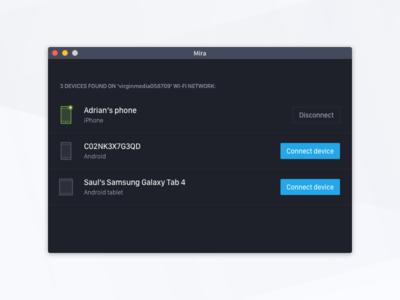 Mira: Desktop application icon dark elegant clean sketch desktopp mac ios android tool
