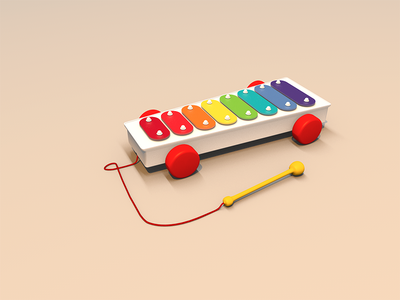 Back to the childhood 3d c4d xylophone model render wallpaper