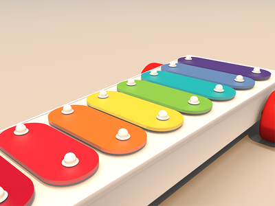 Back to the childhood wallpaper render model xylophone c4d 3d