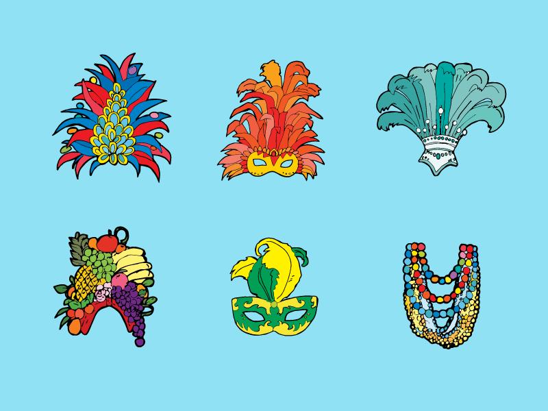 Brazil themed Stickers hat mask colorfull illustration drawing sticker brazil