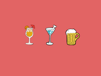 Drinks illustration sticker drawing cocktails beer drinks summer