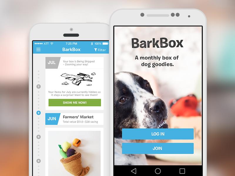 BarkBox app android ios box dog subscription app mobile ux ui