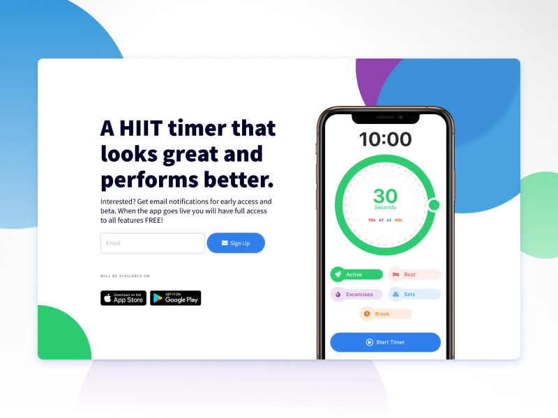 High Intensity Interval Training Timer App desktop figma webdesign fitness app workout hiit timer early access iphone ui signup app training exercise design landing page entrepreneur