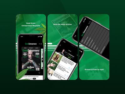 Green Entrepreneur App Screenshots business ui early access mobile app entrepreneurs magazine product cannabis entrepreneur screenshots app store