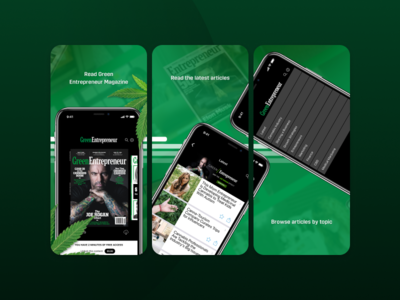 Green Entrepreneur App Screenshots business ui early access mobile app entrepreneurs magazine product cannabis entrepreneur screenshots app store