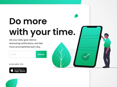 App Concept Inspired By Make Time product concept typography vector illustration signup app landing page