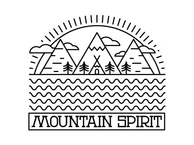 Mountain Spirit river indian sun water line simple nature mountain