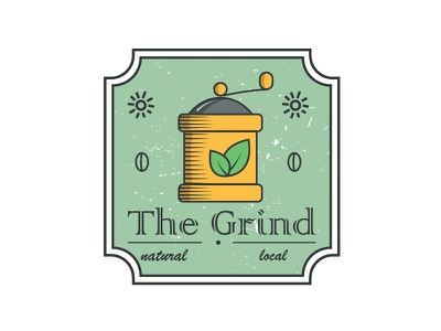 The Grind Coffee Shop leaves sun logo shop local grind grinder natural coffee thirtylogos