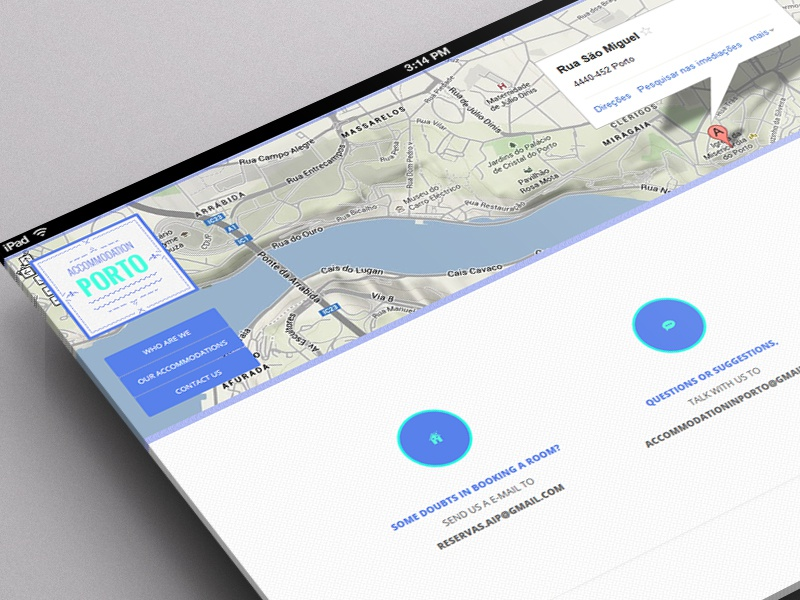 Contacts Page - Accommodation Porto contacts icons items page accommodation porto oporto maps googlemaps adress