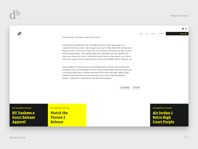 Sneakers Blog - Content bottom page white clean website uxdesign uidesign uiux ui content blog