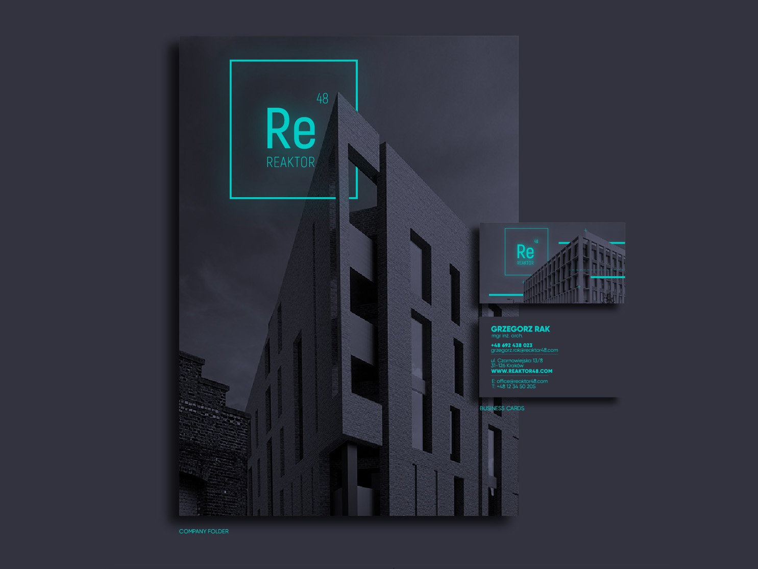 Reaktor48 Rebranding business card 3d graphic modern mockup krakow kraków poland cracow design font typography brand logo architecture illustrator vector ai visual  identity branding