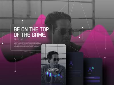 Crypton app money cryptocurrency web typography minimal logo illustration flat vector branding android ios design graphic motion animation interaction ux ui app