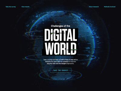 Digital World Survey — Landing interface questionnaire survey 3d design ui animation