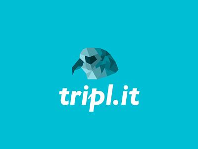 Logo for tripl.it falcon low poly poly sketch app icon logo