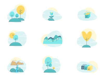 Small Illustrations Set badge flat abstract nature trees colors ui