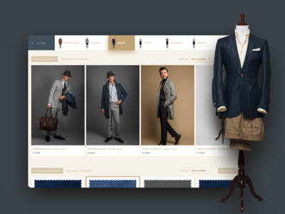 Men's fashion shop view navigation carousel dashboard diffuse shadow beige clothes commerce shop fashion