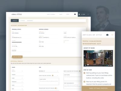 AoS Profile & Fittings fashion shop e-commerce responsive form inputs ui profile