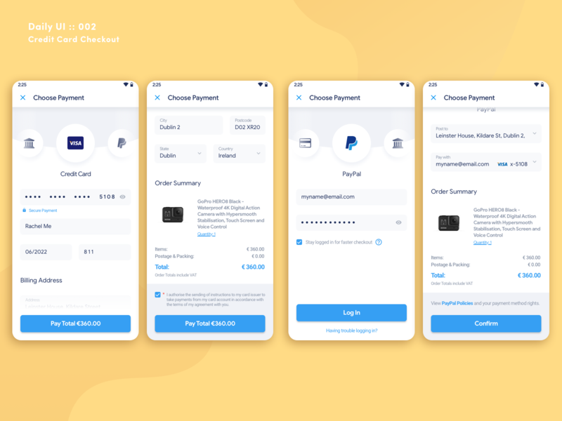 Daily UI Challenge #002 - Credit Card Checkout (Screens) screens design ux uiux dailyui002 checkout credit card creditcard dailyui 002 dailyui contest app