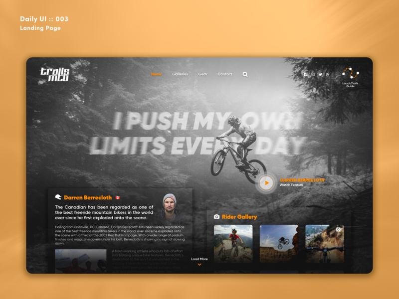 Daily UI Challenge #003 -  Landing Page mtb trails mountain bike ui web design design dailyui003 dailyui 003 ux uiux dailyui contest landing page