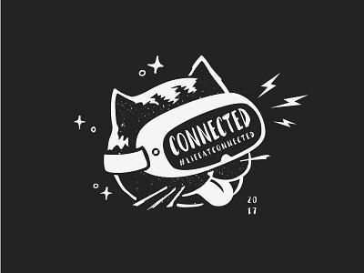 VR Cat #lifeatconnected illustration vr cat white black tshirt