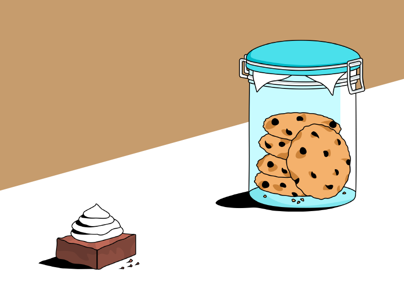 Have a cookie! shadows whipped cream brownie cookies perspective jar illustration