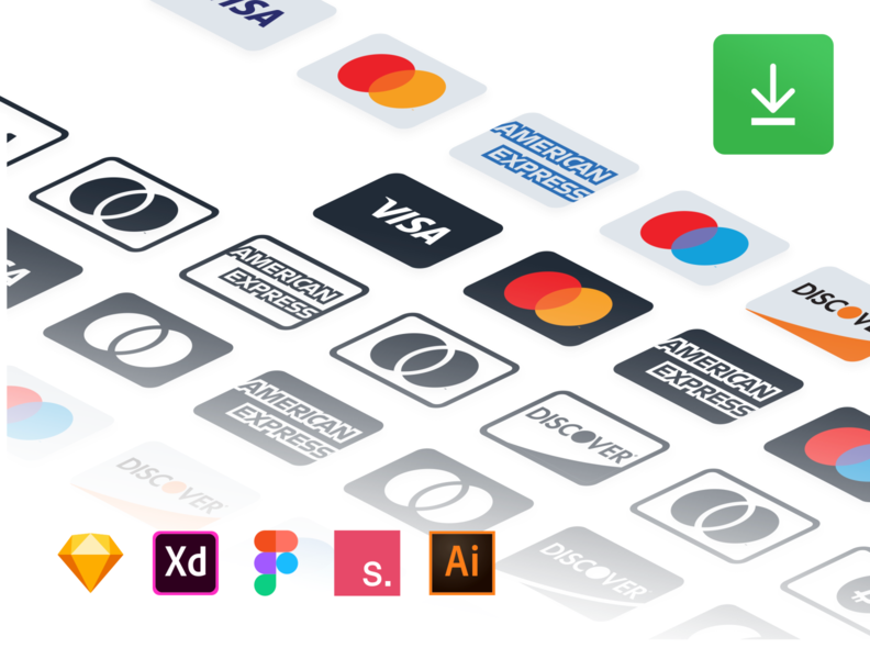 Payment Methods (Free Resource) xd vector sketchapp payment invisionstudio illustrator icon set icon free source figma card card credit