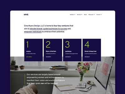 Ema Myers Design, LLC Homepage Concept 2