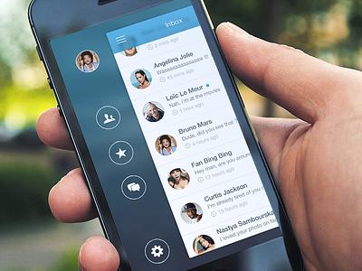 (2013) Spotlinks - iPhone Sidebar ios 10 nav side app blue clean apple ios iphone sidebar menu