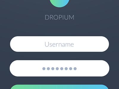 Dropium - Login screen ios 10 ios9 landing glow sign in sign up login flat gradient ios app iphone