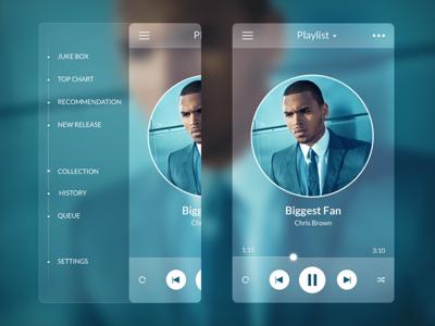 (2013) Music Player - Side Menu ios 10 sidebar bar side menu blue app ui music player transparent