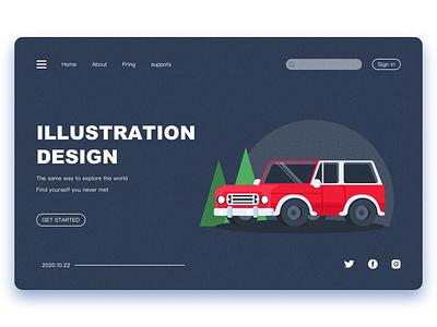car website flat web ui icon illustration design