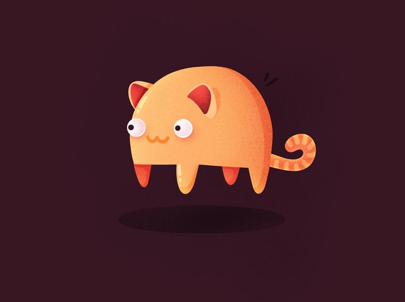Random Flying Cat emoji character cute orange meow fat fly flying cat illustration