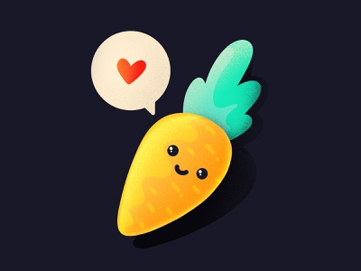 Carrot Love ❤️ vegetable heart emoji character healthy cute food love carrot procreate illustration