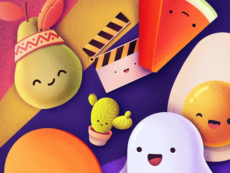 GIFS AVAILABLE! happy smile emoji cactus ghost egg watermelon pear fruits vegetables gifs food characters cute illustration