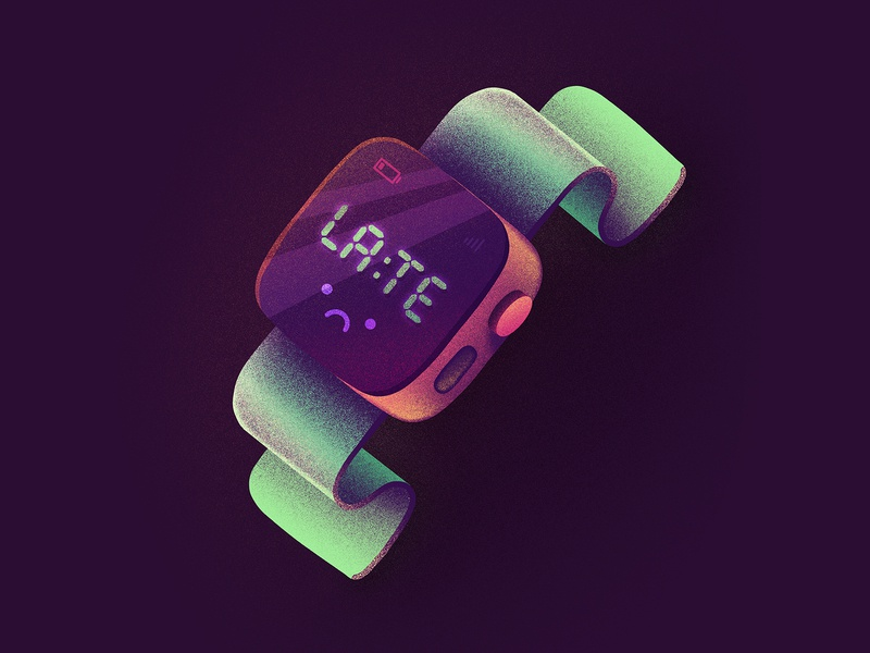 You're very much on time. emoji character cute oldschool clock battery sad time late apple watch watch illustration