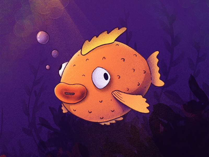 Fish go bloop bloop! silly emoji face character puff weeds swim bubbles underwater procreate illustration fish