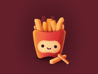 Best Icons of the Month! texture grain noise eat mcdonalds fast food food cute smile happy character fry fries illustration