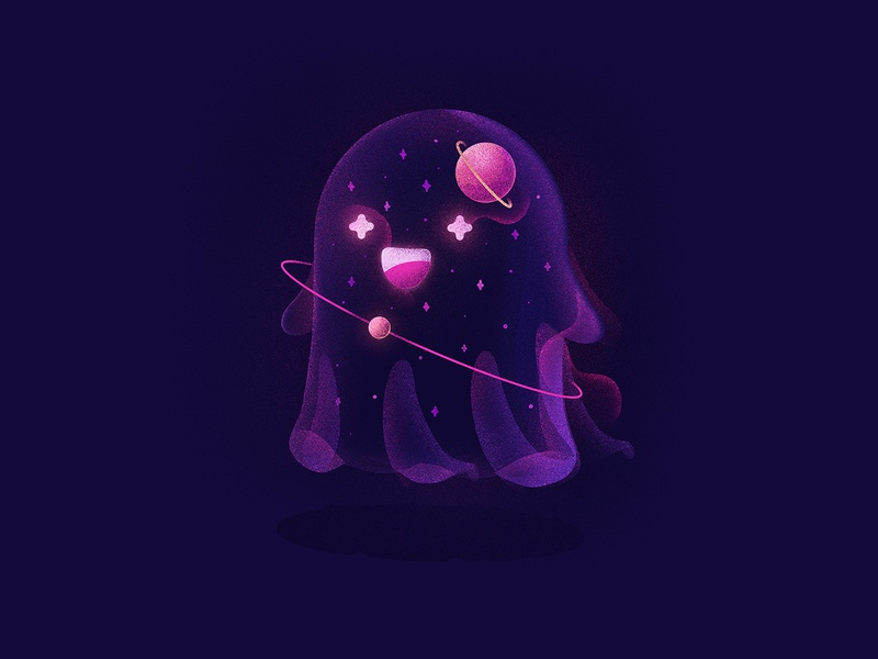 Friendly Galaxy Ghost texture grain noise emoji character planet space stars galaxy cute ghost procreate illustration