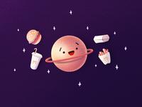 Junk Foodz burger fries comics face character funny saturn junk food mcdonalds mc space planet procreate illustration