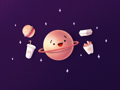 Junk Foodz burger fries comics face character funny saturn junk food mcdonalds mc space planet procreate illustration