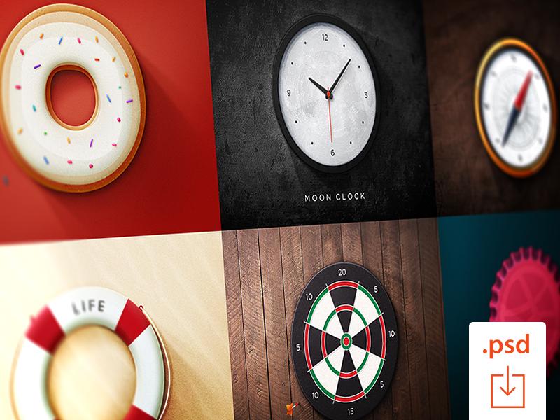 FREEBIE: 6 Round Icons free round icons icons justas studio4 clock compass darts lifesaver doughnut bottle cap