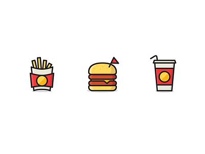 Junk Food Icons junk food fast food burger fries cola icons justas studio4