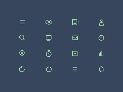 Just Another Outline Icon Set outline icons icons outline justas studio4 clock bell mail eye pin chart